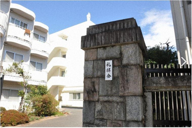 Sur cette image prise en mars 2021, on voit le couvent de Setagaya Ward, à Tokyo, où Mai a passé quelque temps avant sa mort. Une statue de la Vierge Marie se trouve sur le toit du bâtiment.